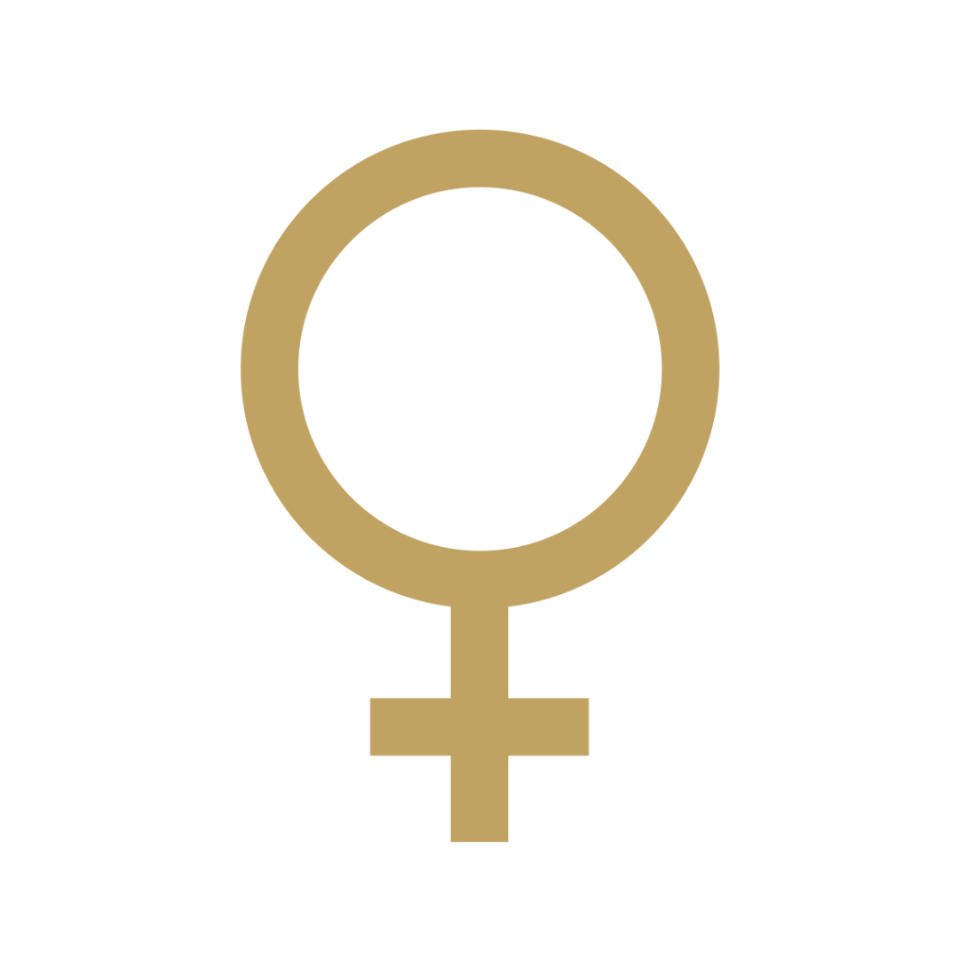 Venus symbol in gold.