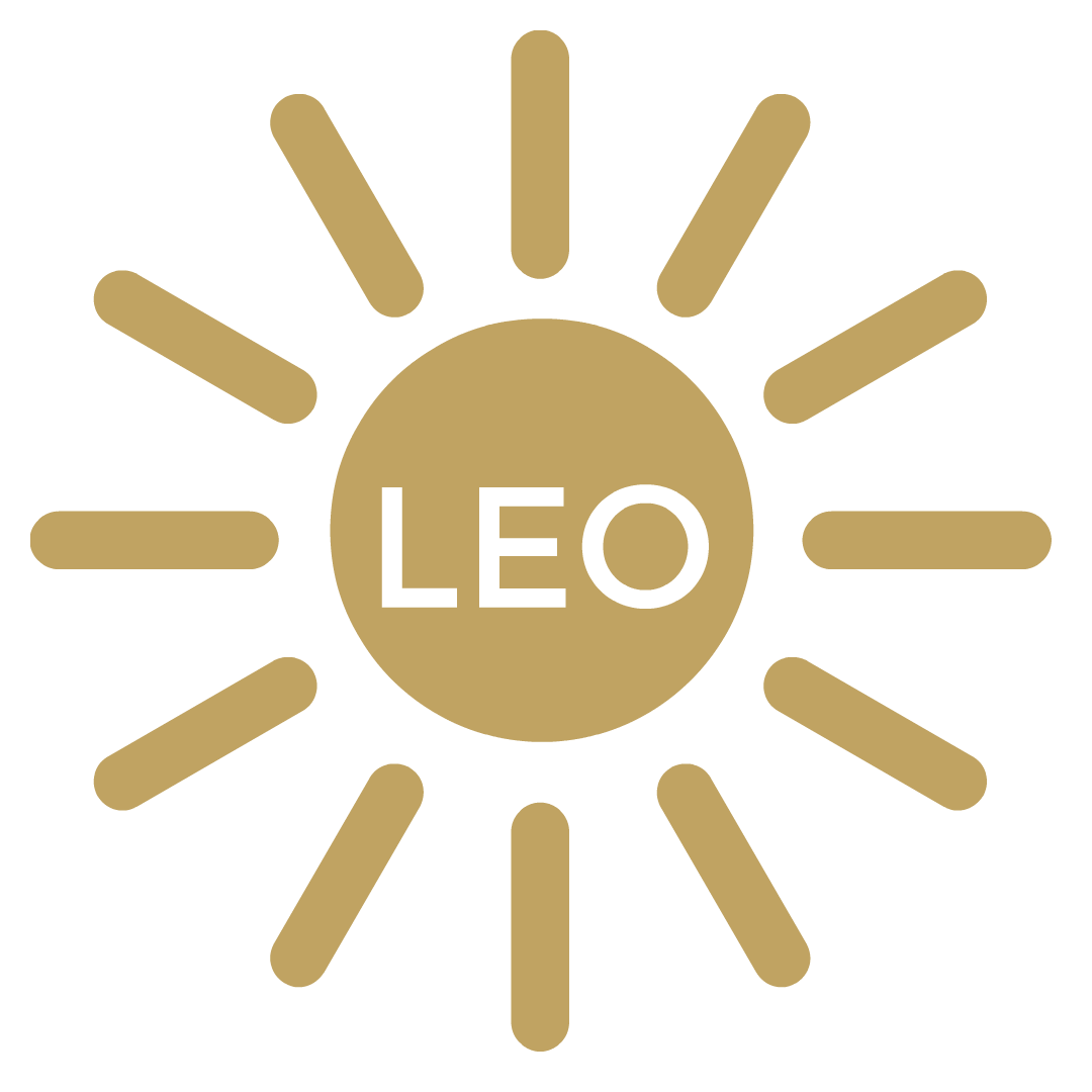 "A gold Sun with golden sun rays beaming out and in the middle of the sun it says ""Leo"""