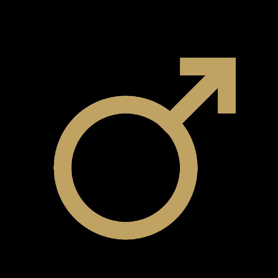 Mars symbol in gold