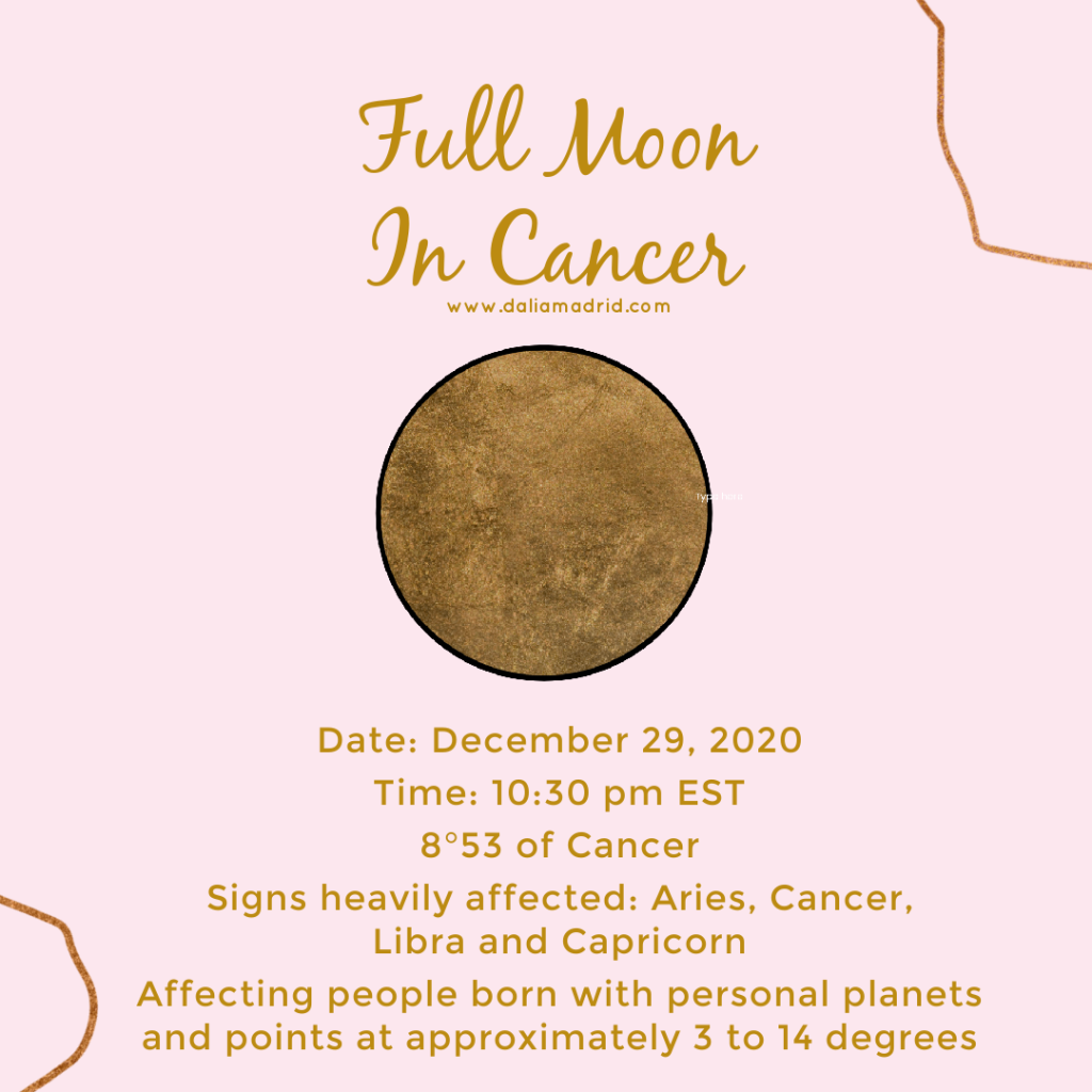 Full Moon in Cancer at 08°53′ on December 29, 2020